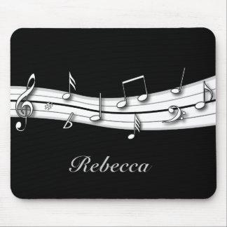 Cuenta blanco y negro gris de las notas musicales tapetes de raton