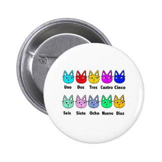 Cuenta de gatos españoles pin redondo de 2 pulgadas