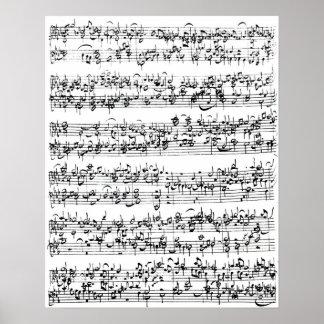 Cuenta de la música de Johann Sebastian Bach Posters