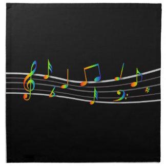 cuenta de las notas musicales del arco iris 3D en Servilleta Imprimida