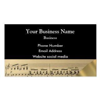 Cuenta de los músicos de la música en negro tarjetas de visita