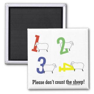 Cuenta de ovejas imán cuadrado