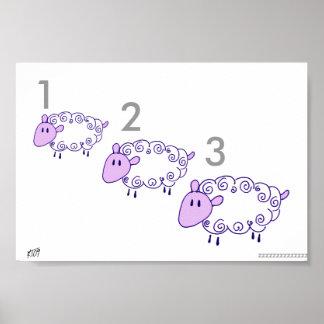 Cuenta de ovejas, lavanda posters