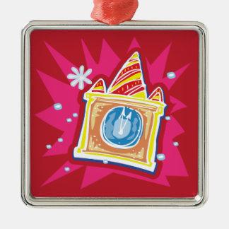 Cuenta descendiente al ornamento del navidad adorno cuadrado plateado