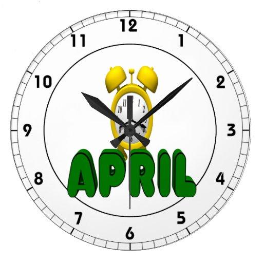 Cuenta descendiente de abril relojes de pared