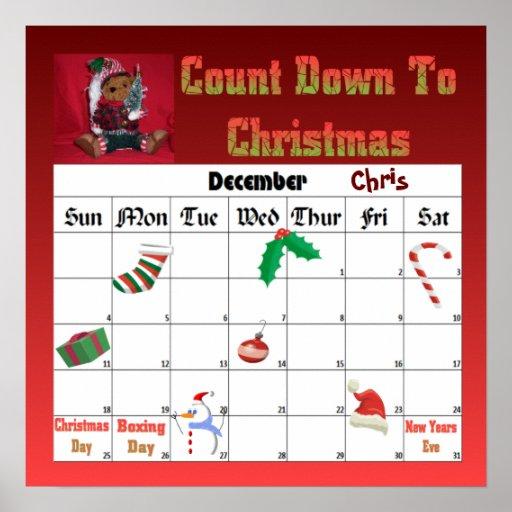 Cuenta descendiente de Ted del navidad al navidad Poster