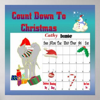 Cuenta descendiente del elefante del navidad al na póster