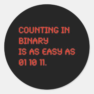Cuenta en binario pegatina redonda