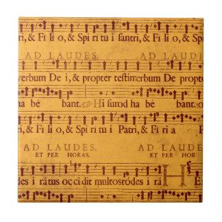Cuenta gregoriana de la música del canto teja cerámica