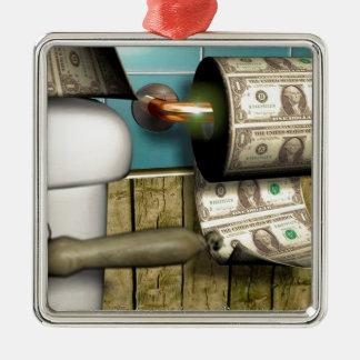 Cuentas abstractas del retrete del dólar adorno cuadrado plateado
