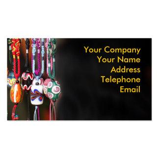 Cuentas de cristal coloridas hechas a mano tarjeta personal
