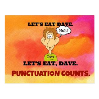 Cuentas de la puntuación: Comamos a Dave. Postales