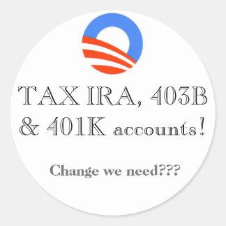 ¡Cuentas IRA, 403B y 401K del IMPUESTO! Etiquetas Redondas
