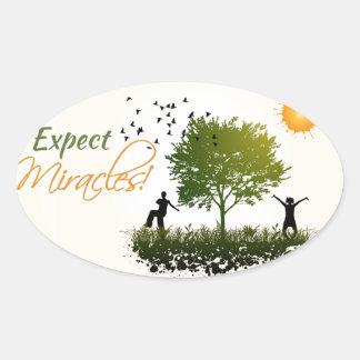 Cuente con los milagros pegatina óval personalizadas