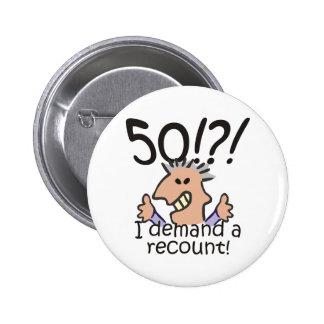 Cuente de nuevo el 50.o cumpleaños pin redondo 5 cm