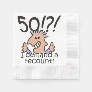 Cuente de nuevo el 50.o cumpleaños servilletas desechables