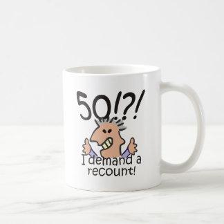 Cuente de nuevo el 50.o cumpleaños taza de café