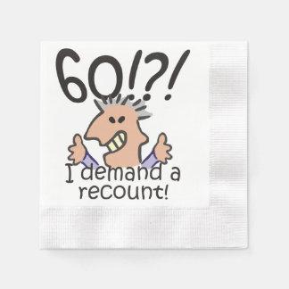 Cuente de nuevo el 60.o cumpleaños servilletas desechables