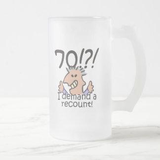 Cuente de nuevo el 70.o cumpleaños taza de cristal