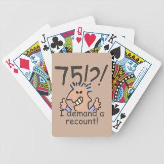 Cuente de nuevo el 75.o cumpleaños baraja de cartas bicycle