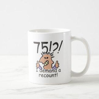 Cuente de nuevo el 75.o cumpleaños taza de café