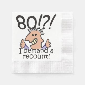 Cuente de nuevo el 80.o cumpleaños servilleta de papel