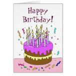 ¡Cuente el cumpleaños de las velas! Torta Tarjeta De Felicitación