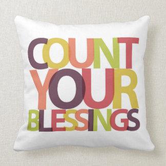 Cuente su almohada de las bendiciones cojín decorativo