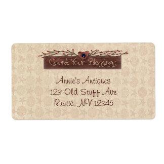 Cuente su etiqueta de las bendiciones etiquetas de envío