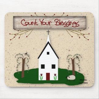 Cuente su iglesia Mousepad de las bendiciones