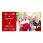 Cuente su tarjeta/rojo de la foto del Año Nuevo de Tarjeta Fotografica