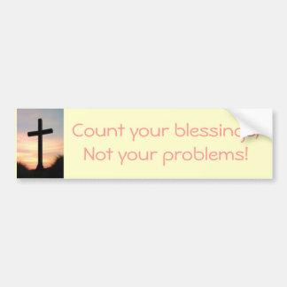 Cuente sus bendiciones pegatina de parachoque