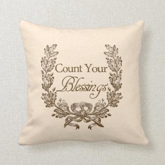 Cuente sus bendiciones almohada