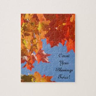 ¡Cuente sus bendiciones dos veces! hojas de otoño  Puzzles Con Fotos