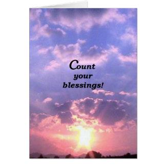 Cuente sus bendiciones tarjeta de felicitación