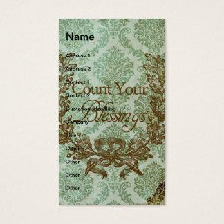 Cuente sus bendiciones tarjetas de visita