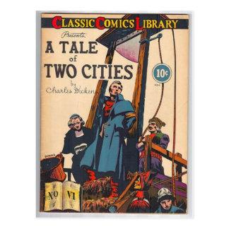 Cuento de dos ciudades cómicas postal