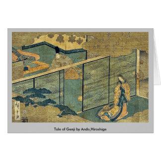 Cuento de Genji por Ando, Hiroshige Tarjetón