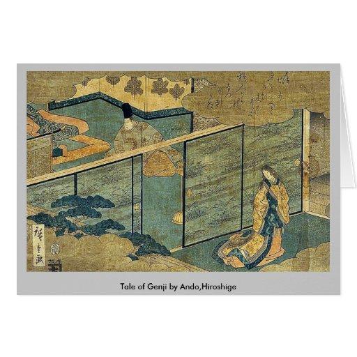 Cuento de Genji por Ando, Hiroshige Tarjeta De Felicitación