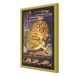 Cuento de hadas coralino del océano de little merm lona envuelta para galerias