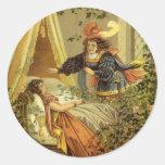 Cuento de hadas de la bella durmiente del etiquetas redondas