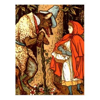 Cuento de hadas de la fantasía del Caperucita Rojo Postales