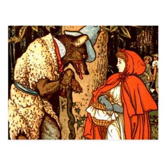 Cuento de hadas de la fantasía del Caperucita Rojo Tarjetas Postales