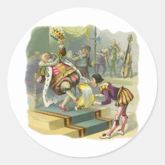 Cuento de hadas de la vieja poesía infantil de rey pegatinas redondas