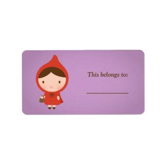 Cuento de hadas del Caperucita Rojo para los Etiquetas De Dirección