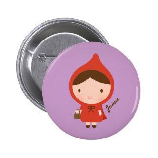 Cuento de hadas del Caperucita Rojo para los Pin Redondo De 2 Pulgadas