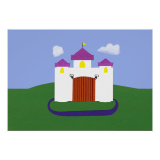 Cuento de hadas del castillo con las torrecillas p posters