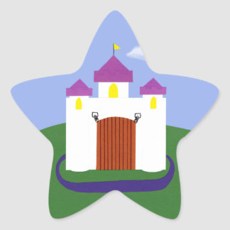 Cuento de hadas del castillo con las torrecillas pegatina en forma de estrella