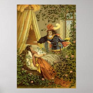 Cuento de hadas del Victorian del vintage, bella Póster