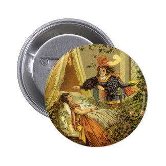 Cuento de hadas del Victorian del vintage, bella Pin Redondo 5 Cm